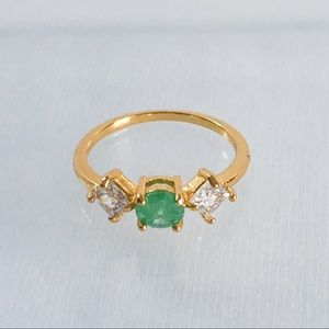 Jewelry - Gold Plated Three Stone Zircon Ring
